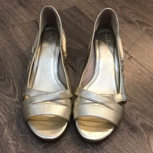 A excellent condition Cole Haan open toe wedge